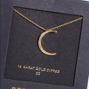 14K Gold Dipped Moon Necklace